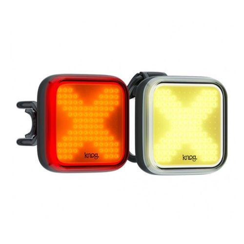 Knog Blinder Twinpack X, kit de iluminación Delantera (luz blanca de 200 lúmenes), Posterior (luz roja de 100 lúmenes), 8 modos de luz, recargable USB