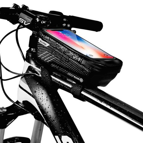 """Bolso Impermeable de bicicleta para celular con soporte para pantalla táctil menores a 6.5"""", carcasa rígida, correas de velcro y cierres, Negro"""