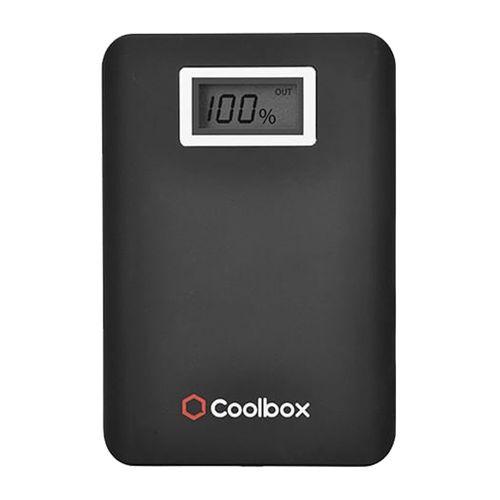 Batería externa de 10,400 mAh color negro con pantalla digital para indicar nivel de carga