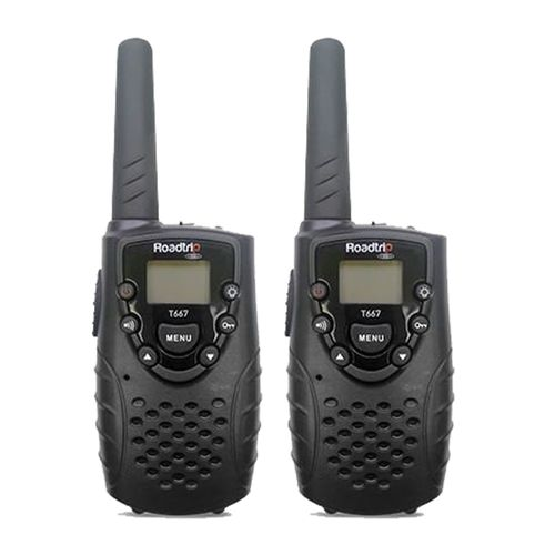 Radio FRS 14 Canales Roadtrip, Walkie Talkie Set de 2pcs hasta 5km de alcance, luz linterna incorporada, utiliza 3 pilas AA