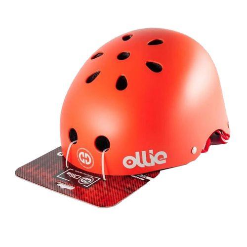 Casco Ollie estilo urbano talla L color rojo mate, regulable, correa ajustable, 11 vías de ventilación, EPS, tamaño de cabeza 58-62 cm