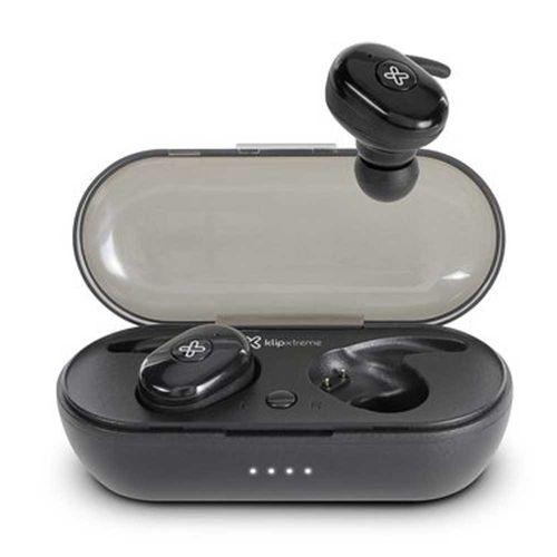 Audífono Bluetooth True Wireless Twin Buds II con case de carga, micrófono integrado, botón multifunción para música y llamadas, Negro