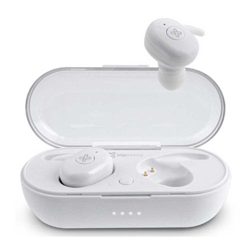 Audífono Bluetooth True Wireless Twin Buds II con case de carga, micrófono integrado, botón multifunción para música y llamadas, Blanco