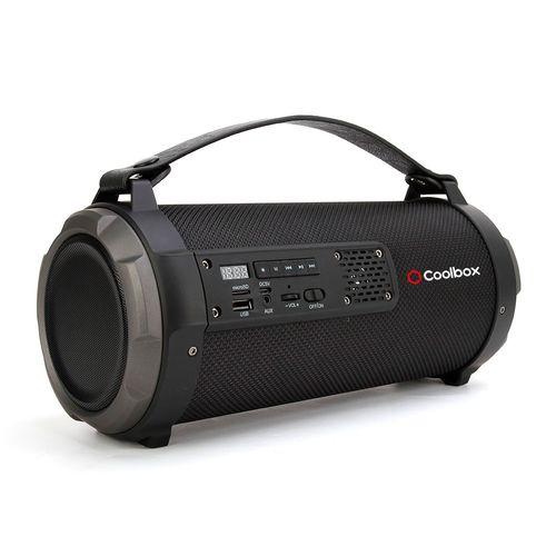 Parlante bluetooth portátil Bazooka con luces Led regulables, asa para fácil transporte