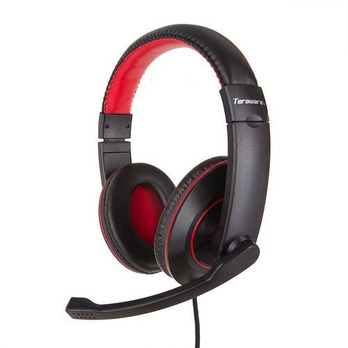 Audífono con Micrófono para PC con Conexión 3.5 mm x2 (Audio y Micrófono) Color Negro y Rojo