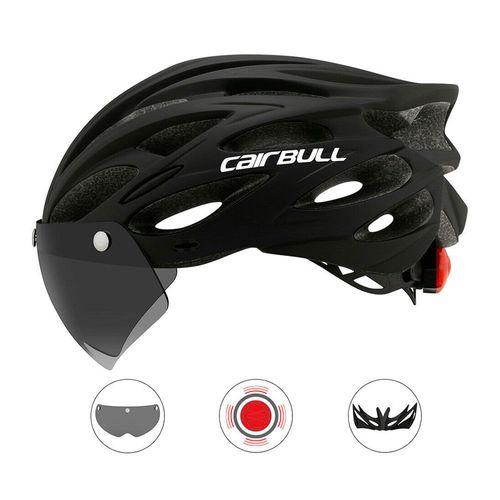 Casco multi deportivo Cairbull 3 en 1 color negro talla M/L, luz posterior integrada, visor y visera extraíble, 22 vías de respiración, tamaño 54-61cm