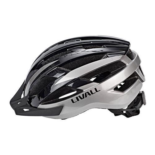 Casco ciclista Livall MT1 gris/negro talla L, bluetooth, 8 LED posteriores, 6 intermitentes, altavoces, micrófono, 21 vías ventilación, tamaño 58-62cm