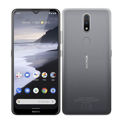 """Nokia 2.4, cámara 13+2MP, frontal 5MP, almacenamiento 32GB, RAM 2GB, pantalla 6.5"""" IPS LCD, reconocimiento facial y dactilar - gris"""