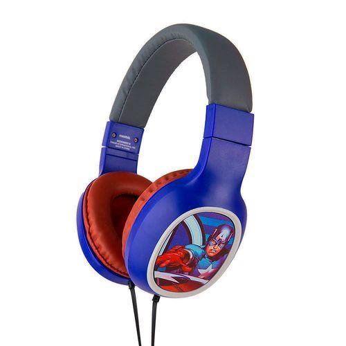 Audífono on ear sin micrófono Avengers almohadillas acolchadas, conector 3.5 mm, azul