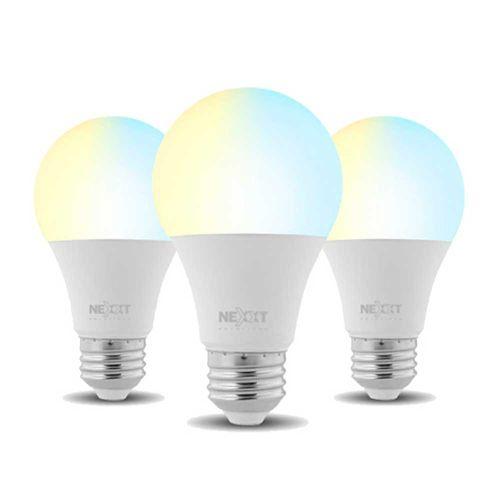 Pack x 3: Focos LED inteligentes Wi-Fi 220V, Tipo de Bombilla A19, Luz blanca y cálida, Puede regular la intensidad