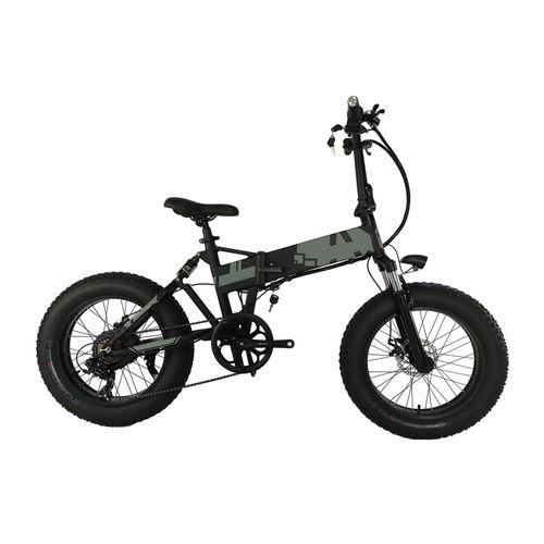 """Bicicleta eléctrica Force negra, autonomía 45-50 km, vel máx 25km/h, llantas 20""""x4"""", 7 vel, doble suspensión, luz delantera, bocina, holder de celular"""