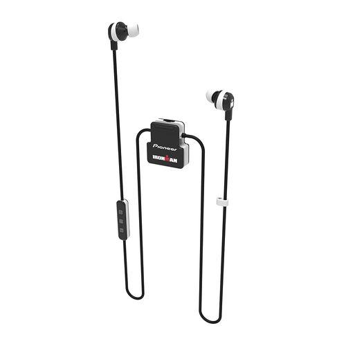 Audífono bluetooth In ear deportivo Ironman Pioneer resistente al agua IPX4, micrófono integrado, Negro/Blanco