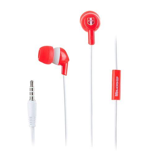 Audífono in ear con micrófono Black Sheep Peruana control para música y llamadas, conector 3.5 mm, rojo