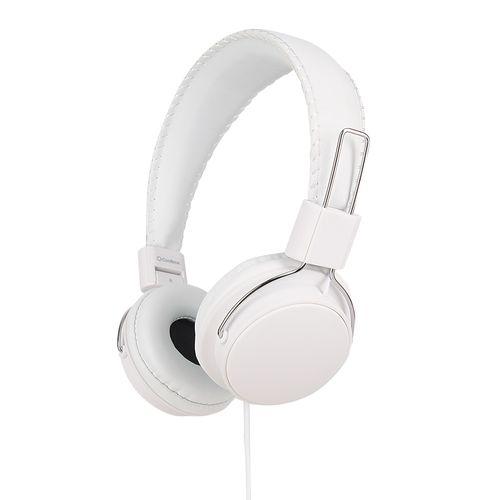 Audífono on ear + in ear con micrófono Coolbox largo 1.2 m, conector 3.5 mm, blanco
