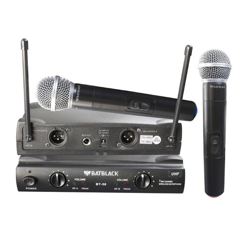 Micrófono inalámbrico Batblack BT-58 X2 cobertura de 40 a 60 m