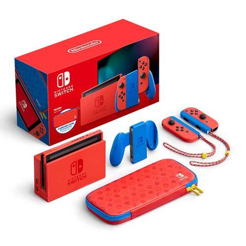 Consola Nintendo Switch Mario, controles con 2 correas del Joy-ConTM (I/D), funda Edición Mario - Rojo y Azul