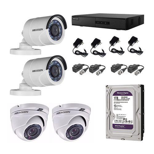 Kit de Seguridad 4 canales, 2 cámaras domo, 2 cámaras tubo, DVR y Disco Duro de 1TB, IP66