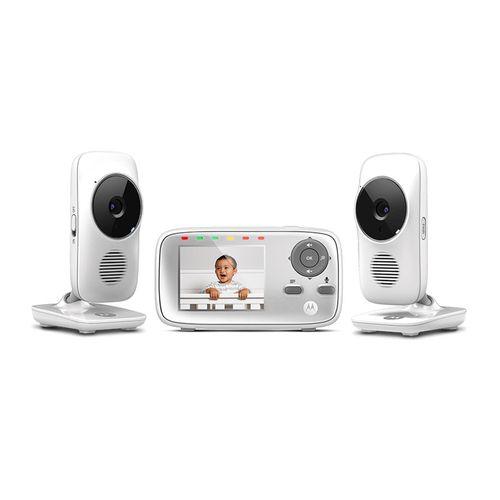 "Monitor de Bebé 2.4Ghz con 2 cámaras de 2.8"", pantalla a color, comunicación bidireccional, visión nocturna por IR, display de temperatura"