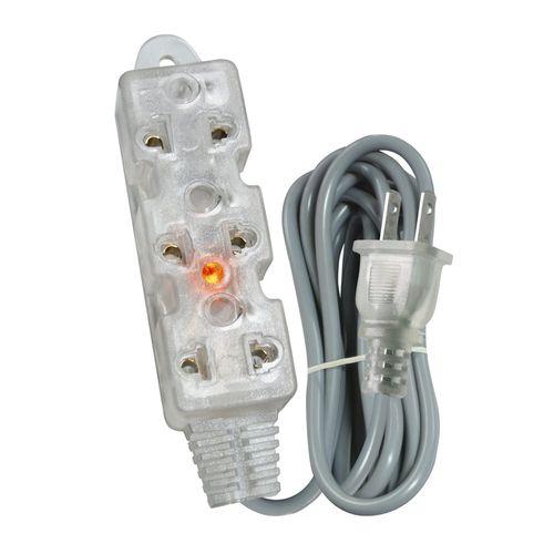 Extensión vulcanizada transparente Opalux 3 tomas universales indicador luz neon 25 m