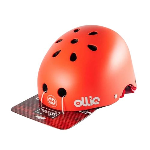 Casco Ollie estilo urbano talla M color rojo mate, regulable, correa ajustable, 11 vías de ventilación, EPS, tamaño de cabeza 54-58 cm
