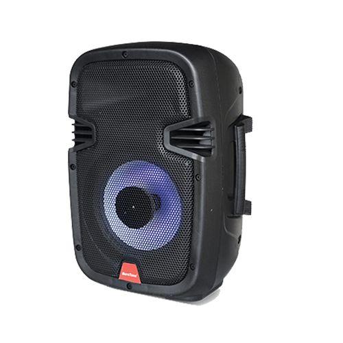 """Parlante Bluetooth 8"""" 80W,Luces LED, FM, SD, USB,Batería recargable, Incluye micrófono y control remoto"""