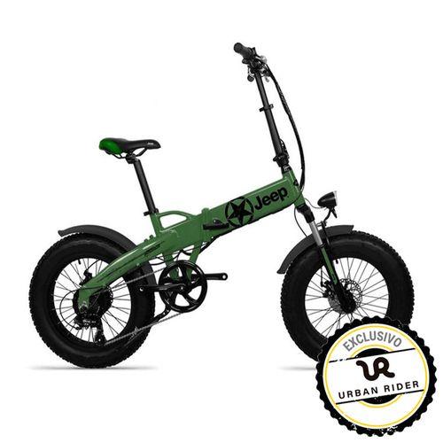 """Bicicleta Eléctrica Jeep Verde/Negro con Autonomía 30-40 km, Vel. Máx: 25 km/h, Tolerancia: 100 kg, Llantas de 20"""", Potencia: 250W, Plegable"""
