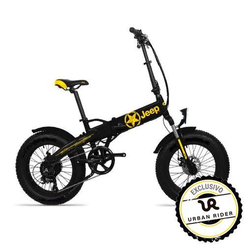 """Bicicleta Eléctrica Jeep Negro/Amarillo con Autonomía 30-40 km, Vel. Máx: 25 km/h, Tolerancia: 100 kg, Llantas de 20"""", Potencia: 250W, Plegable"""