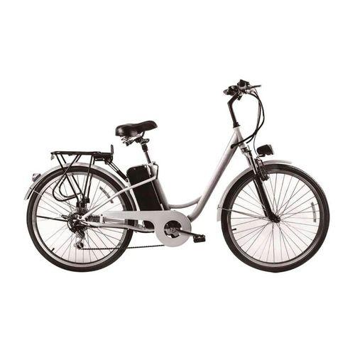 "Bicicleta eléctrica Breeze blanca,autonomía 25-35km,vel máx 25 km/h,aro 26"",motor 250W,6 velocidades,parrilla,freno V-brake delantero,tambor posterior"