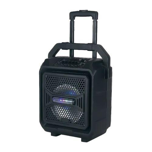 Parlante bluetooth Izuum con asa y ruedas, led, batería recargable