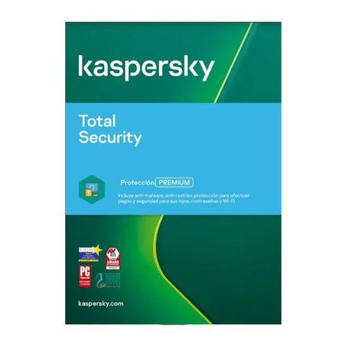 Antivirus Kaspersky Total Security, protección premium, 3 dispositivos, 1 año