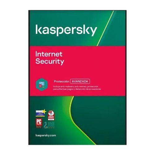 Antivirus digital Kaspersky Internet Security, protección avanzada, 3 dispositivo, 1 año
