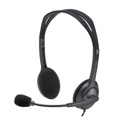 Audífono Logitech H111 con micrófono, sonido estéreo, conexión 3.5 mm, negro
