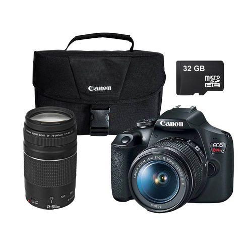 Cámara Canon EOS Rebel T7 EF-S 18-55mm + Lente 75-300mm STM + SD 32GB + Maletín