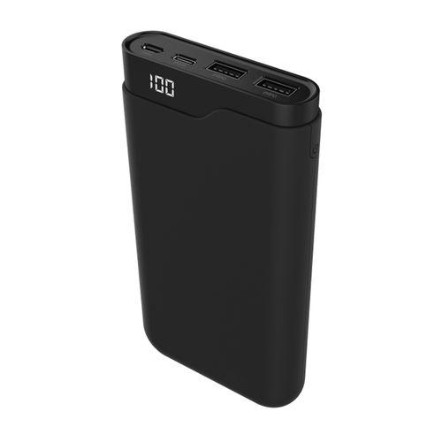 Batería externa de 15,000 mAh Tipo C Negro carga rápida QC, 2 puertos de salida USB, incluye cable micro USB