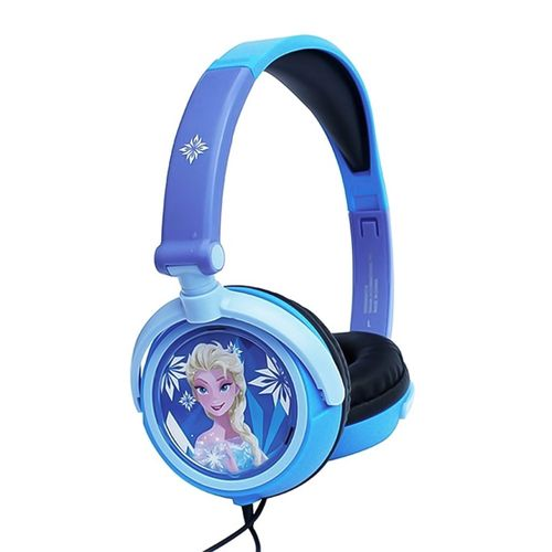 Audífono on ear sin micrófono Frozen Elsa almohadillas acolchadas, conector 3.5 mm, celeste