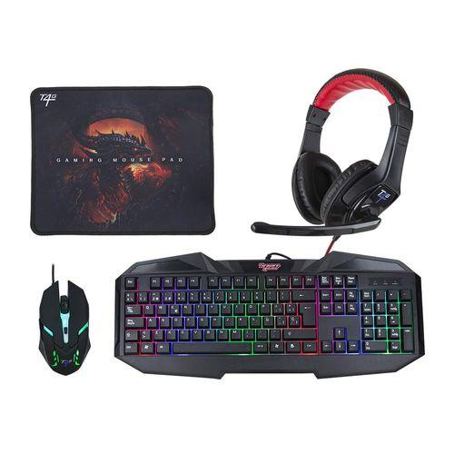Kit gaming 4 en 1 Teraware teclado membrana +  mouse + headset + mouse pad, RGB