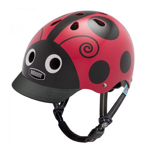 Casco Little ladybug talla XS color rojo, exterior duro de ABS 360° reflectante con EPS en el interior y 11 orificios, tamaño de cabeza: 48-52 cm