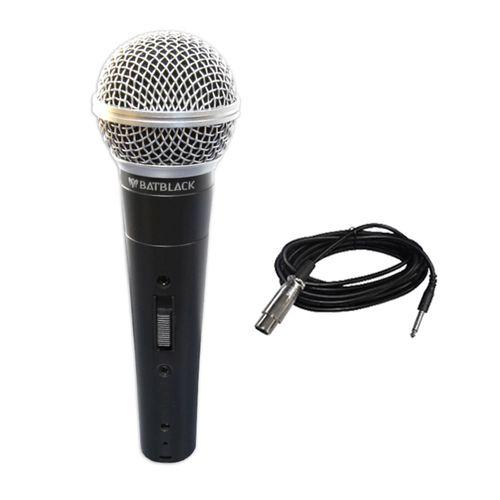 Micrófono alámbrico dinámico profesional Batblack CJX25 canon a plug, 5 m