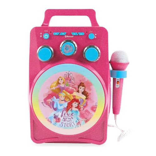 Karaoke bluetooh diseño Princesas con luces led brillantes regulables, control de volumen y eco, portátil