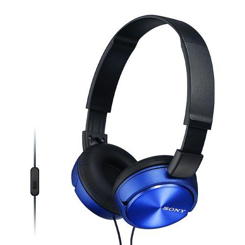 Audífono on ear con micrófono Sony MDRZX310AP almohadillas acolchadas, conector 3.5 mm, control de llamadas, azul