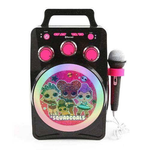 Karaoke bluetooh diseño Lol Surprise luces led brillantes regulables, control de volumen y eco, portátil