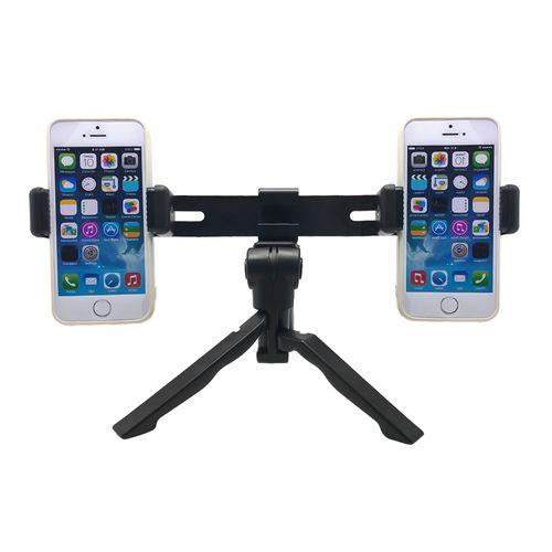 Soporte trípode para 2 celulares G Mobile portátil, negro