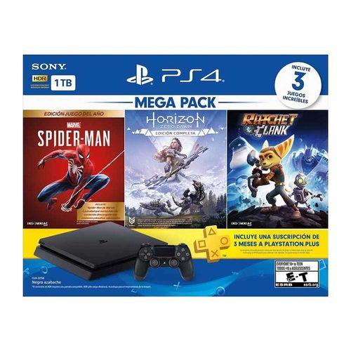 Consola Ps4 1TB + Marvel SpiderMan + Horizon Zero Dawn + Ratchet & Clank + PS Plus 3 meses