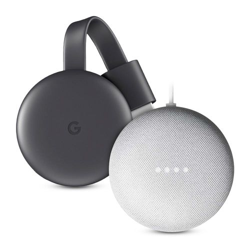 Combo Google: Chromecast 3ra generación full hd + Nest Mini control de voz gris
