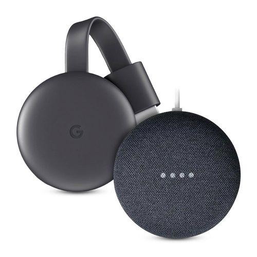 Combo Google: Chromecast 3ra generación full hd + Nest Mini control de voz negro