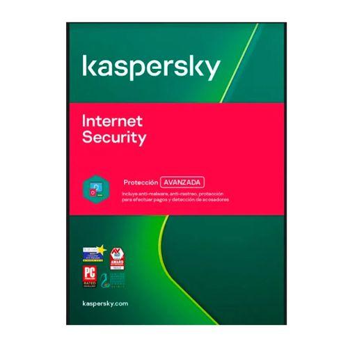 Antivirus digital Kaspersky Internet Security, protección avanzada, 1 dispositivo, 1 año