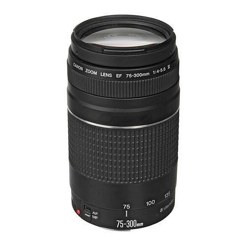 Lente Canon montura EF 75-300mm, f/4-5.6, ampliación máx. 0.25x, autoenfoque, diafragma de 7 hojas, filtro 58mm
